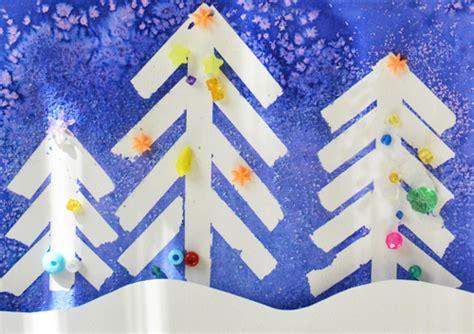 winter wonderland christmas art tape resist  salt