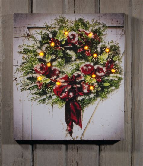 Lighted Pictures by Wreath On Barn Lighted Picture Item 46548