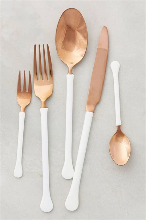 flatware copper anthropologie modern trends table painted cutlery gold spoon handle silver paint kitchen rose talheres cuivre bronze trending utensils