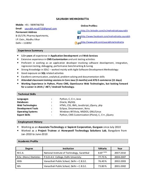 One Year Experience Resume Format For Developer resume format for one year experienced software engineer resume format