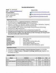 experience resume format two year essay on firecom With sample resume for one year experienced software engineer