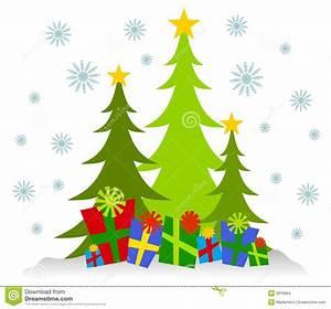 Cartoonish Christmas Trees And Presents Stock Illustration ...