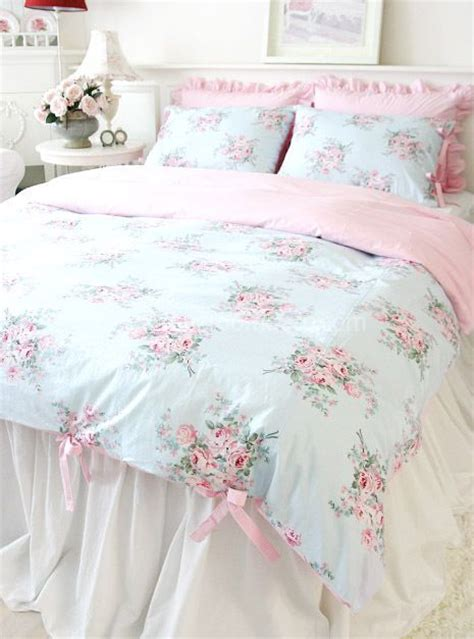 shabby chic union bedding shabby chic cottage floral quilt duvet cover set blue pink check ties queen size country decor