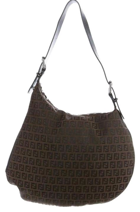 fendi zucca fabric handbag brown monogram canvas hobo bag