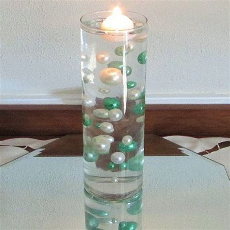 floating pearl centerpiece diy in mint greens and white