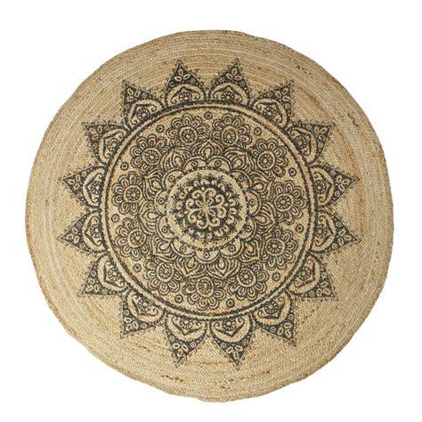 canapé 150 cm tapis rond fibre végétale naturelle place by drawer