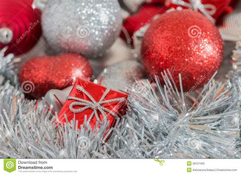 silver  red christmas decorations royalty  stock