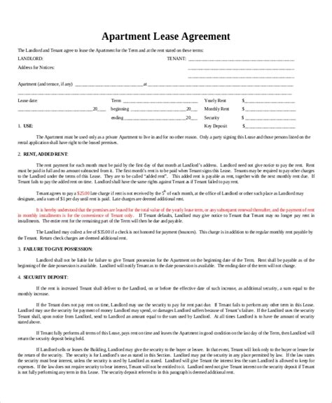 sample apartment lease agreement templates  ms