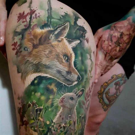 fox  rabbit tattoo  hip  tattoo ideas gallery