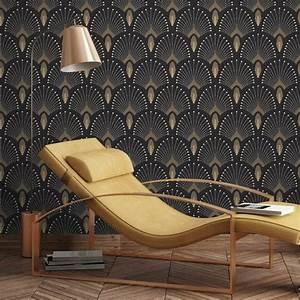 Papier Peint Noir Et Doré : papier peint design pour salon 10 id es d co ~ Melissatoandfro.com Idées de Décoration
