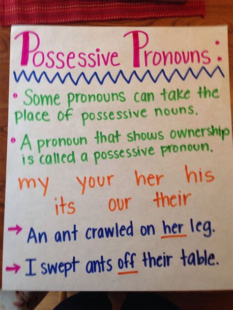 possessive pronouns anchor chart education