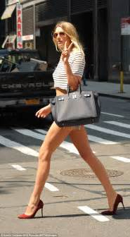Lily Donaldson flaunts endless pins in Daisy Dukes in NYC ...