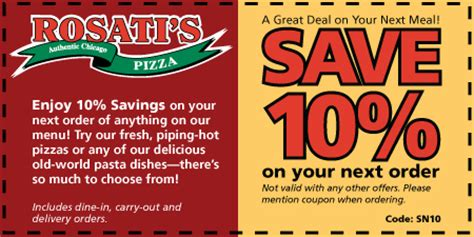34197 Traditions Press Coupon Code by 10 Your Next Order At Rosati S Pizza Rosatis Pizza