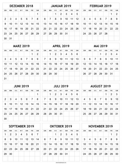dezember bis november kalender mit notizen vorlage