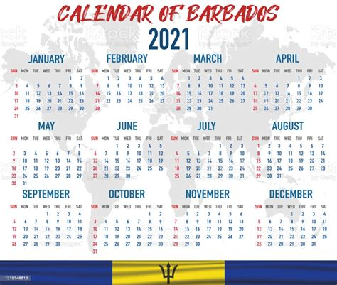 barbados calendar  national country flag month day  week colorful palette trendy simple