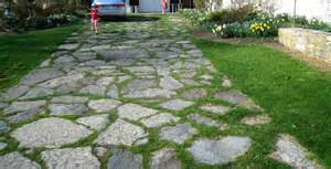 flagstone driveways pavers on grass and grass