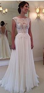 a line lace scalloped chiffon open back wedding dress i With how much are wedding dresses