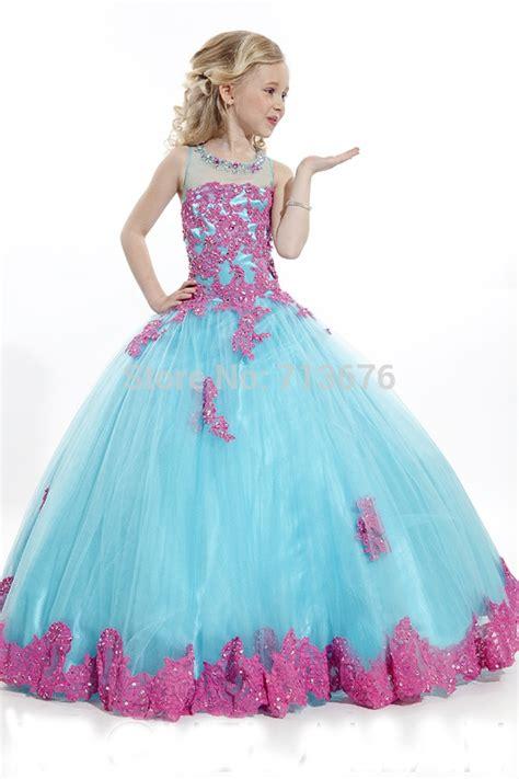 lace appliquez girls kids pageant dress flower