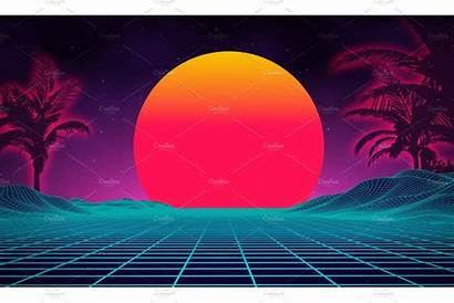 Retro 1980s Landscape Futuristic 80s Cyber Wallpapers