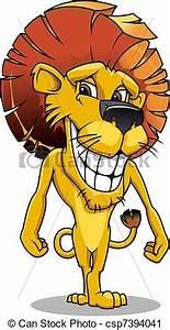 Vector Clip Art of Cartoon smiling lion - Cute smiling ...