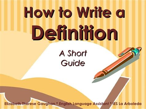 How To Write A by How To Write A Definition