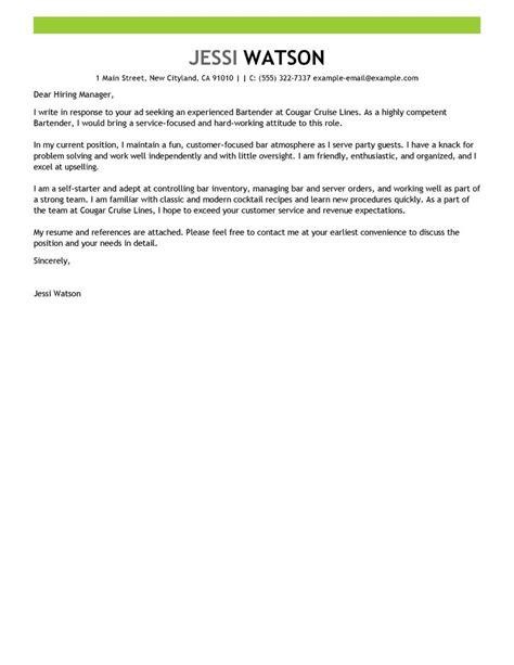leading professional bartender cover letter exles