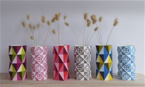 geo vases diy paper craft  ellen giggenbach project