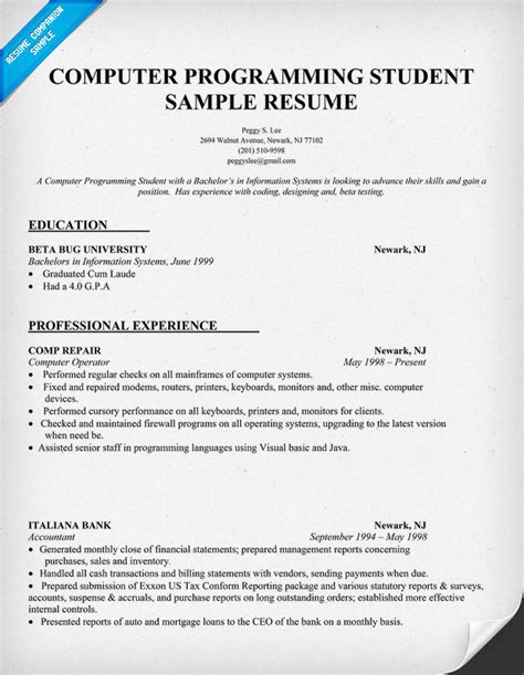 resume exles for college students computer science sle resume for internship in computer science