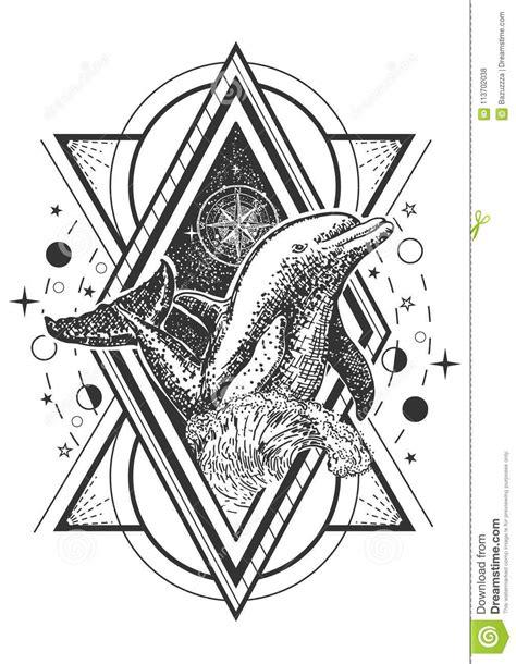 Vector Creative Geometric Ocean Dolphin Tattoo Art Style