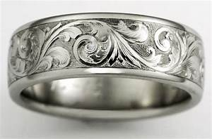 western heritage meets the space age titanium wedding With western engraved wedding rings