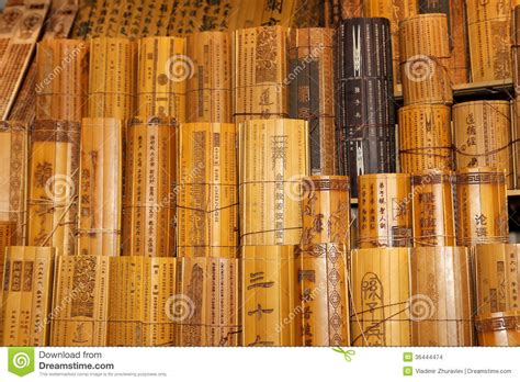 chinese traditional bamboo slips stock images image