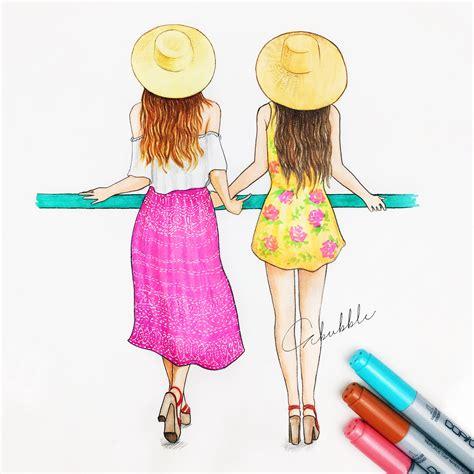 fashion girl  friends  drawings