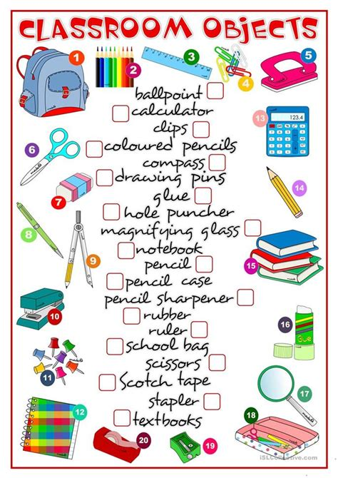 Clasroom Objects  Matching Worksheet  Free Esl Printable Worksheets Made By Teachers