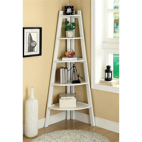 Merill 5 Tier Ladder Corner Shelf White Bookcases At