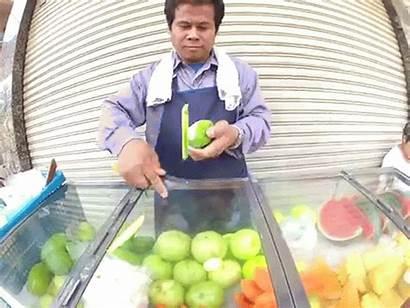 Vendor Bangkok Street Fruit Boggling Culinary Skills
