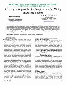 A Survey on Approaches for Frequent Item Set Mining on ...