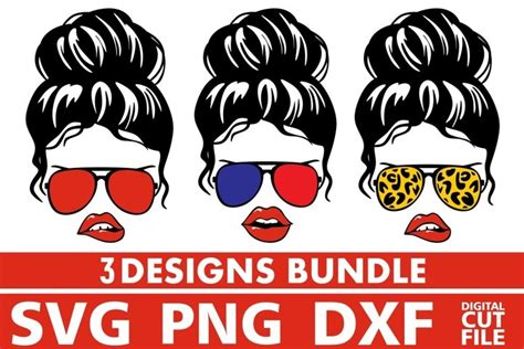 Commercial license is always included! 3x Girl In Messy Bun Bundle svg, Glasses svg, Leopard ...
