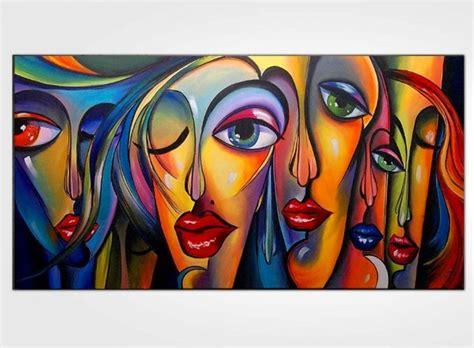 peinture visage femme moderne tableau femme 6 visages