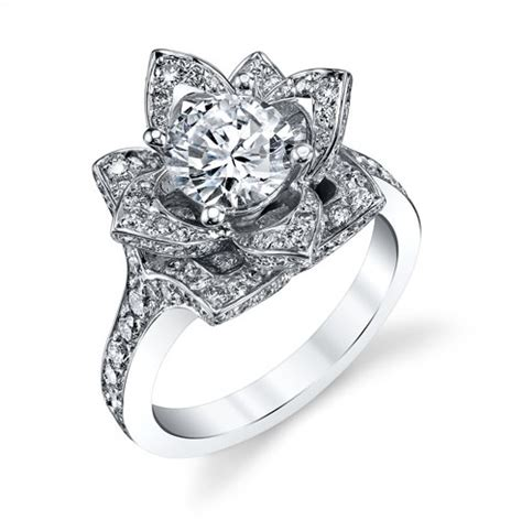 the large crimson rose flower diamond engagement ring bbr607 unique engagement rings for