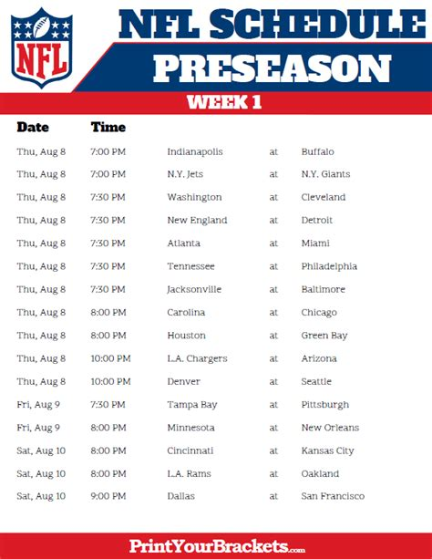printable  nfl preseason schedule