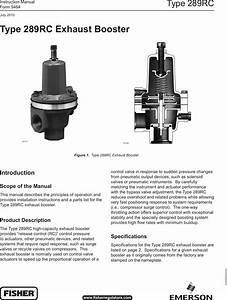 Emerson Type 289rc Exhaust Booster Instruction Manual