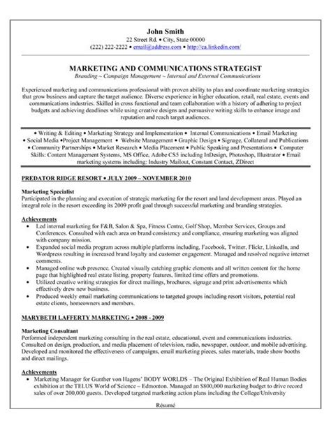 Sle Resume For Digital Marketing Manager by A Professional Resume Template For A Marketing Specialist