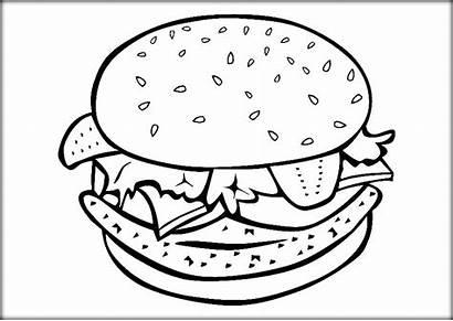 Hamburger Sheet Burger Coloring Cheeseburger Pages Template
