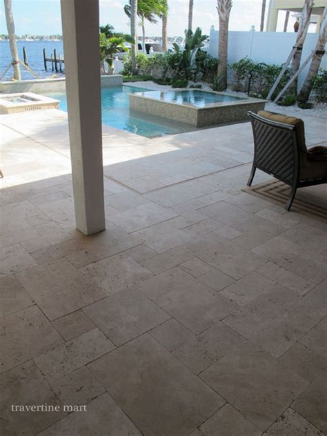 ivory tumbled travertine pool tiles  pavers modern