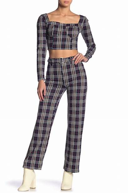 Plaid Pants Belted Navy