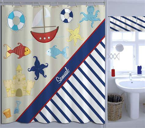 nautical navy and white striped shower curtain