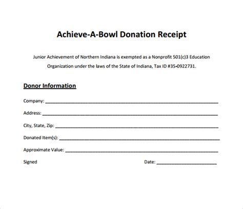 donation receipt template doc sle donation receipt template
