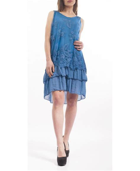 robe pret a porter robe tunique dentelle s9148 blue grossiste pret a porter