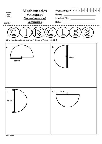 year 6 circumference of semicircles worksheet by
