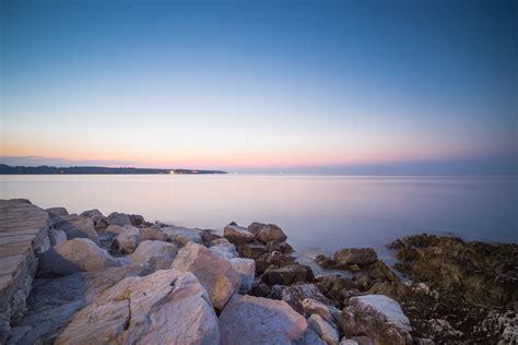 beautiful sunset over seaside rocks free